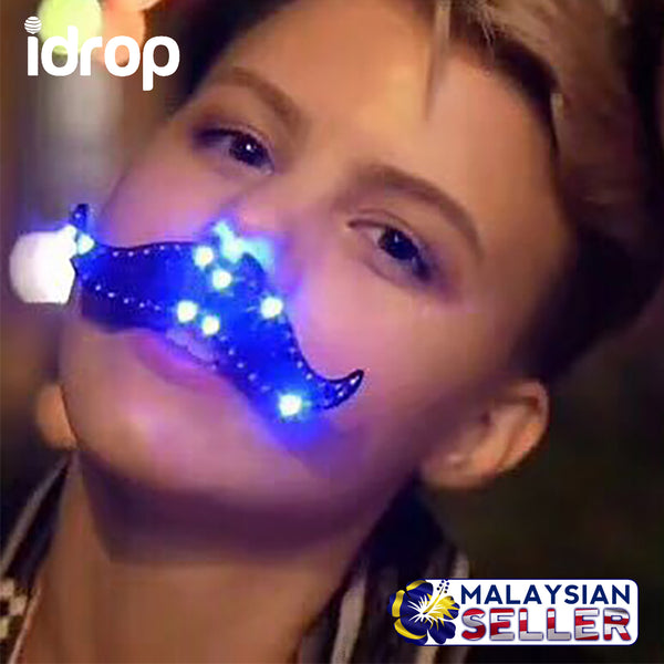 idrop LED Luminous Mustache Retro LED Light Handlebar Mustache Party Cosplay Mustache Facial Prop