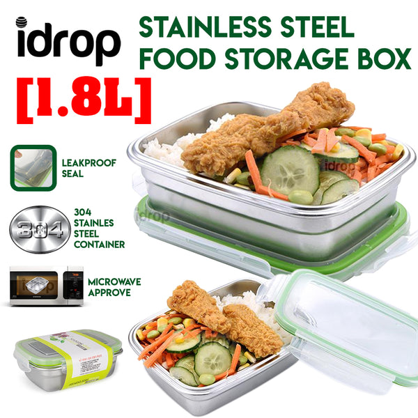 idrop Stainless Steel Food Storage Box with Lid Cover [1.8L]