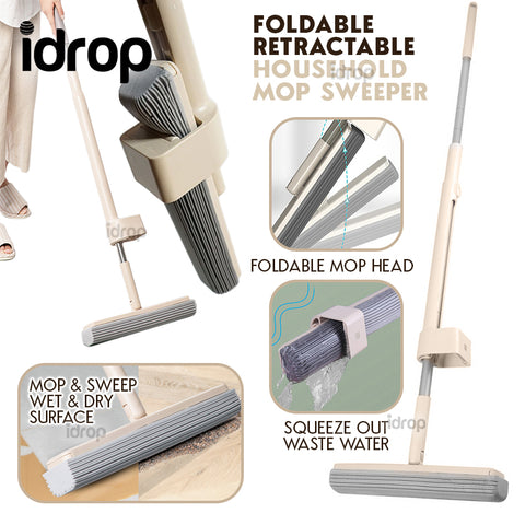 idrop Household Retractable Squeezing Floor Absorbent Sponge Mop Sweeper