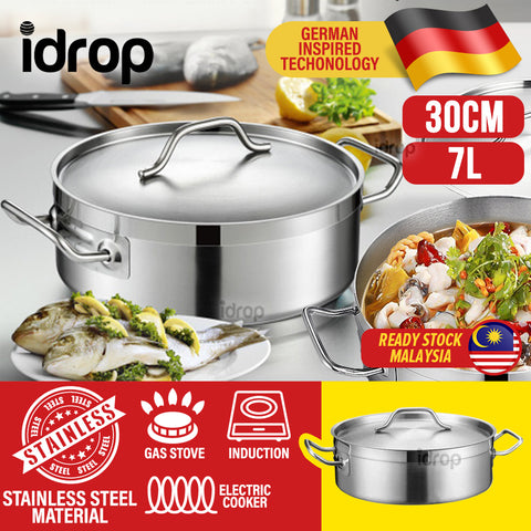 idrop 30CM Stainless Steel Flat Bottom Kitchen Hotpot