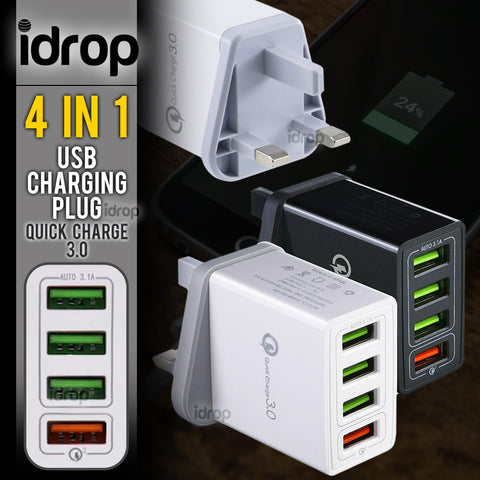 idrop 4 IN 1 Quick Charge 3.0 USB Charging 4-Port Plug ( 1pc )