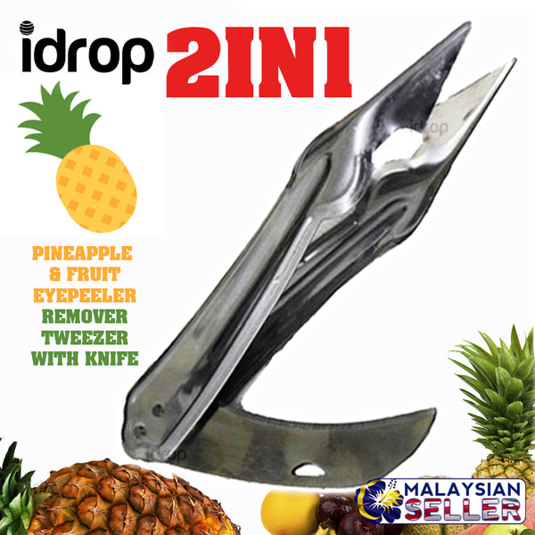 idrop Pineapple & Fruit Eye Peeler Remover Tweezer with Flip Knife