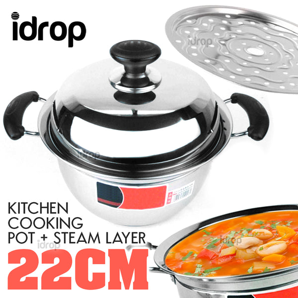 idrop 22CM Multipurpose Kitchen Cooking Pot and Steamer Cooker
