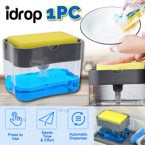 idrop Sponge & Dishwashing Soap Container Holder Press Dispenser