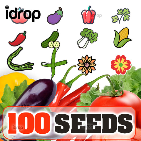 idrop 100pcs SEEDS - Tomato / Egg Plant / Bell Pepper /  Coriandur Leaves / Chilli Seed / Cucumber / Choy-Sun / Sweet Corn / Long Bean / Bean / Gazania / Garden Balsam