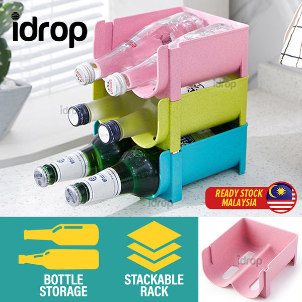 idrop [ 2 SLOT ] Kitchen Stacking Bottle Holder Organizing Storage