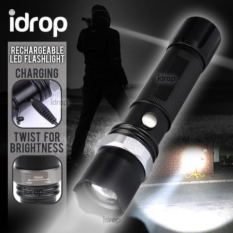 idrop Strong LED Rechargeable Flashlight / Lampu Suluh