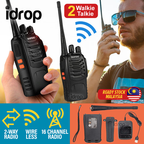 idrop BAOFENG BF-888S Wireless Walkie Talkie 16-Channel 2 Way Radio with LED Light [ 2pcs ]