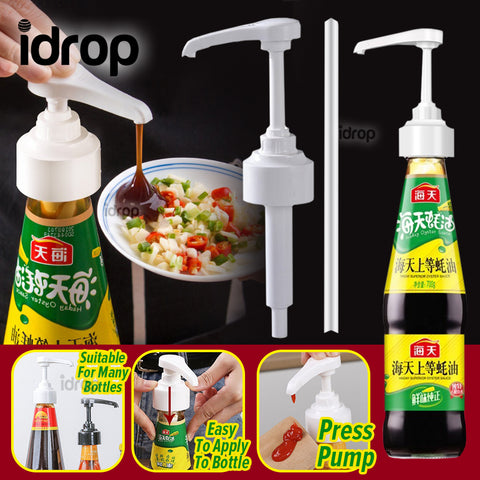 idrop Pressure Pump Bottle Nozzle Dispenser Universal for Sauce & Seasoning Bottle