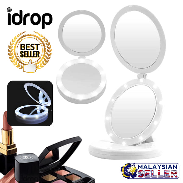 idrop FOLDABLE  Dual Mirror Make Up Cosmetic Mirror Set with LED Light
