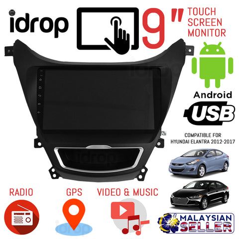 idrop 9 INCH Car Touchcreen Monitor - Android OS with GPS for HYUNDAI ELANTRA 2012 -2017