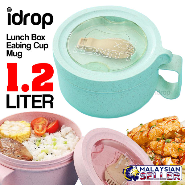idrop 1.2L Lunch Box Eating Cup Mug with Eating Utensil