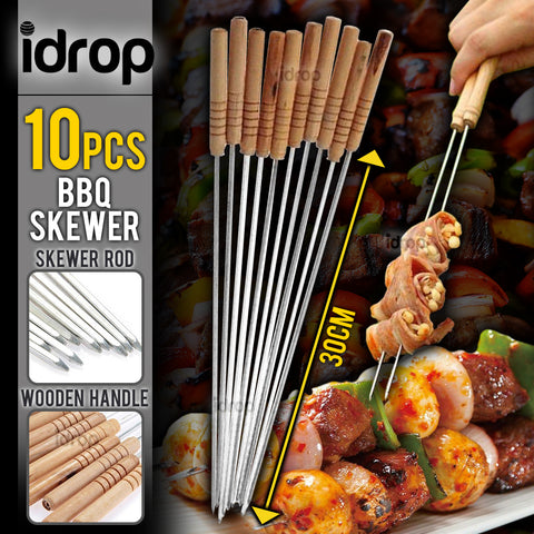 idrop 10pcs Stainless Steel BBQ Skewer Stick Barbecue Rod [ 30cm ]