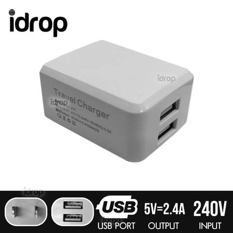 idrop USB Charger Plug Head 2 USB Port [ US Regulation Standard ]