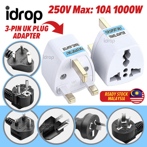 idrop 3-PIN UK Plug Travel Adapter Conversion Socket [ 250V Max : 10A 1000W ]