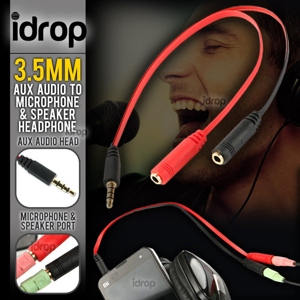 idrop 3.5mm Aux Audio Adapter Cable to Audio Speaker Headphone & Microphone Jack Port