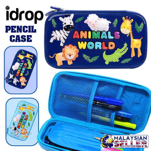 idrop ANIMALS WORLD 3D Emboss Kids Pencil Case