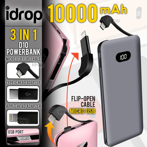 idrop D10 10000mAh Powerbank - 3 IN 1 Interchangeable Charging Adapter Head for [ Micro USB / Type-C / Apple Device ]