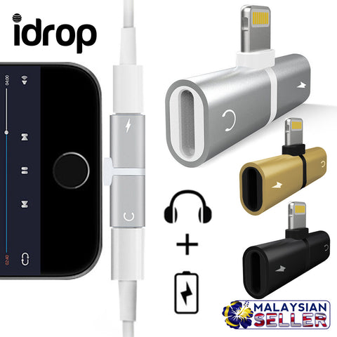 idrop 2 IN 1 Lightning Splitter Adapter [Audio/Call/Charge] Compatible for iPhone 7/8/X