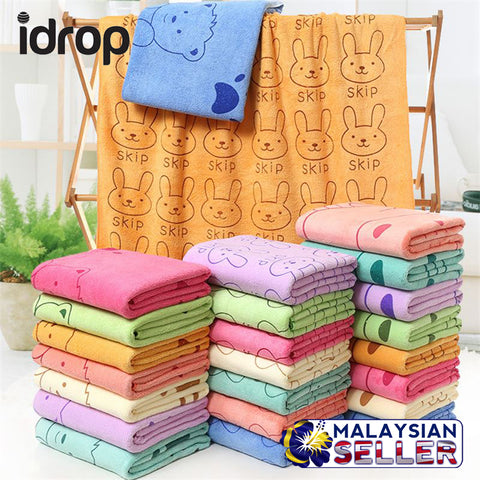 idrop PREMIUM QUALITY FABRIC Colorful Microfiber Absorbent Towel with Illustration [ SET of 3 ]