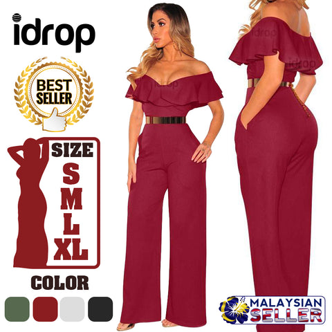 idrop Women's Falbala Summer Jumpsuit
