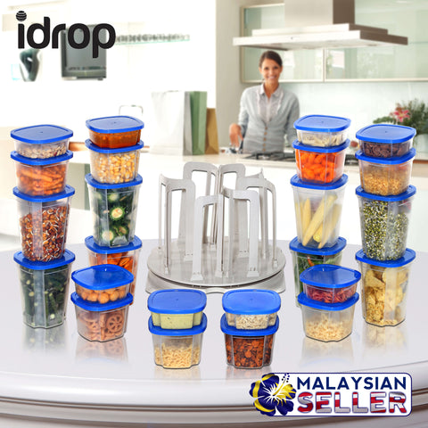 idrop 49 Piece Set Storage Spinner Food Storage & Carousel (Blue)