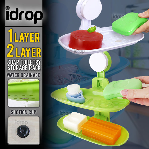 idrop Wide Soap & Toiletry Bathroom Accessory Wall Mount Storage Rack [ 1 Layer / 2 Layer ]