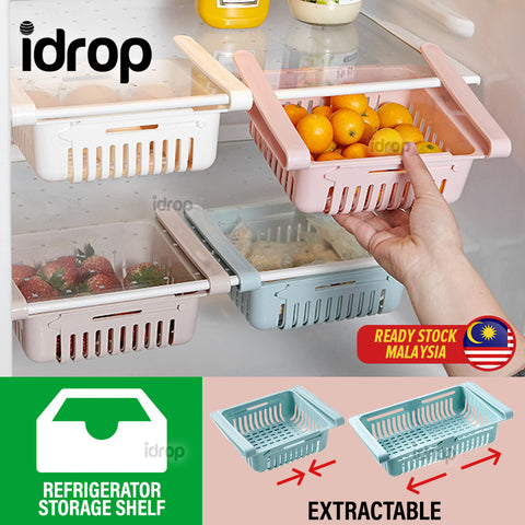 idrop Retractable Pull Out Kitchen Refrigerator Storage Organizing Box Tray