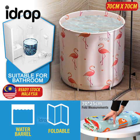 idrop [ 70CM X 70CM ] Foldable Bathing Barrel Water Container