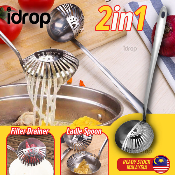 idrop 2 IN 1 Hotpot Stainless Steel Spoon Ladle Drainage Filter