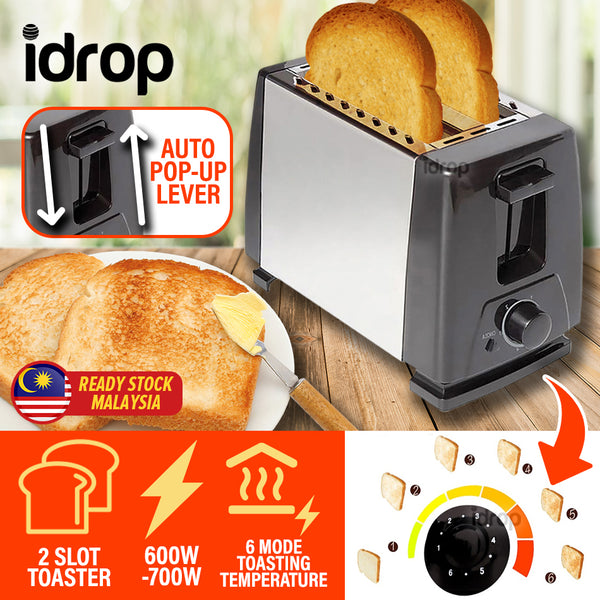 idrop 2 SLOT 6 Toasting Mode Bread Slice  Stainless Steel Electric Toaster Maker [ 600-700W ]