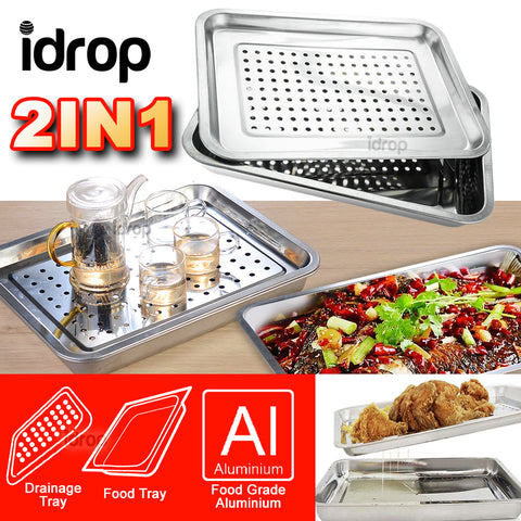 idrop Rectangular Aluminium Kitchen Food & Drainage Tray [ 28.5 x 38.5cm ]