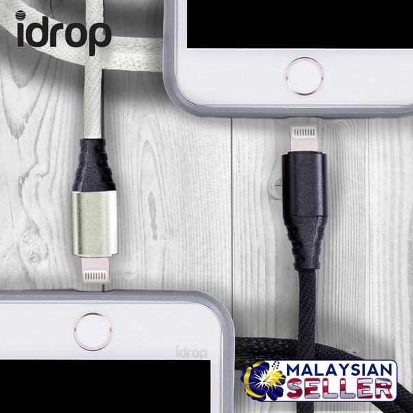 idrop Lightning Charging / Data Transfer Reinforced USB Cable | Black / White