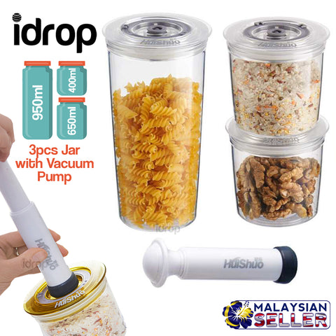 idrop 3pcs Vacuum Seal Food Storage Jar with Vacuum Pump [ 950ml / 650ml /400ml ]