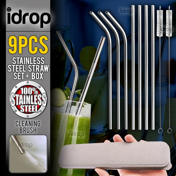 idrop 9PCS Stainless Steel Straw Drinking Set + Portable Carry Box Container
