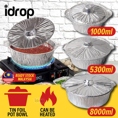 idrop Disposable Takeaway Tin Foil Food Storage Bowl Pot with Lid Cover