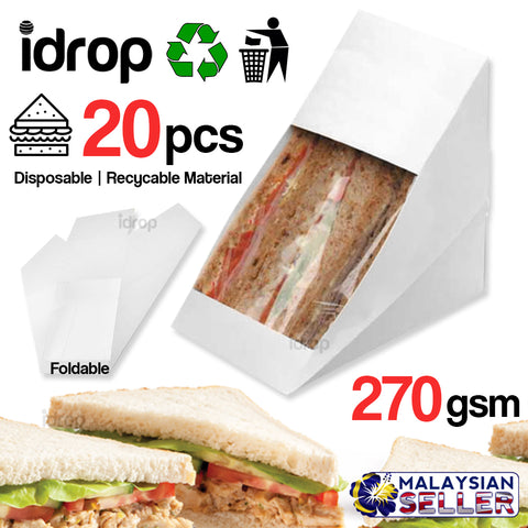idrop  [ 20pcs / 1 pack ] Sandwich Wedge Box with Window [ 270gsm ]