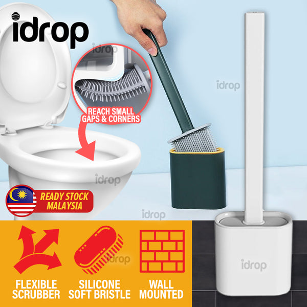 idrop Flexible Toilet Bowl Cleaner - Silicone Cleaning Brush Scrubber