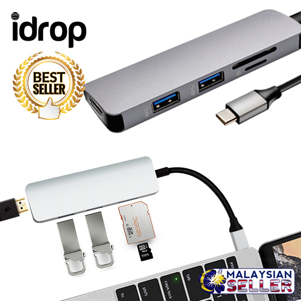 idrop USB C EXPANDER - To HDMI + USB 3.0 + SD / TF Card Reader Multifunction Adapter