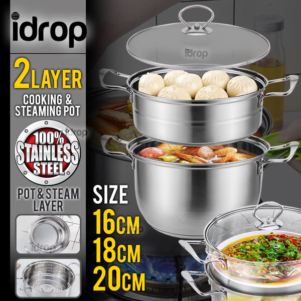 idrop 2 Layer Stainless Steel Kitchen Cooking & Steaming Cookware Pot [ 16cm / 18cm / 20cm ]