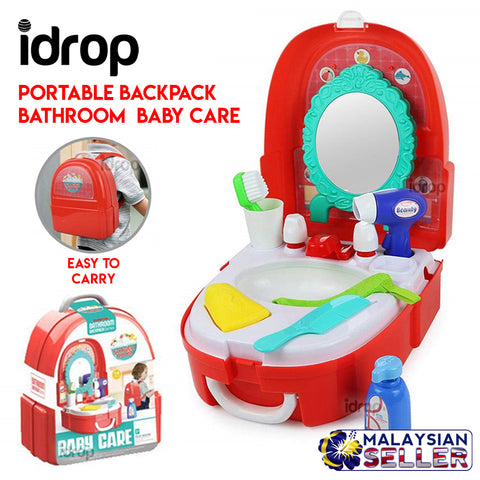 Idrop [7F702] Portable Backpack Pretend Game Bathroom Backpack Baby Care Toy