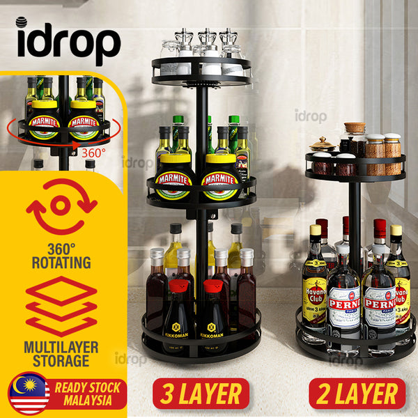 idrop [ 2 LAYER / 3 LAYER ] 360° Household Kitchen Rotating Steel Frame Countertop Storage Rack Shelf