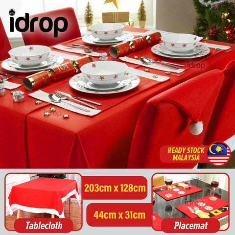 idrop Christmas Santa Theme Dining Tablecloth Table Cover and Eating Placemat
