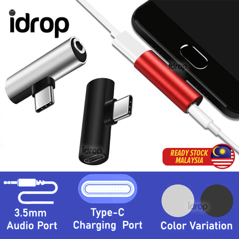 idrop 2 in 1 USB Type C Splitter Adapter Type C Phone Charger & 3.5mm Audio Headphone Music Splitter Adapter