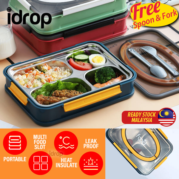 idrop Portable Leakproof Food Eating Lunchbox with Heat Insulation Inner Stainless Steel 4 Compartment Food Plate [ FREE SPOON & FORK ]