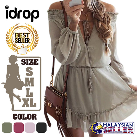 idrop Women's V-Neck Summer Casual Loose Dress