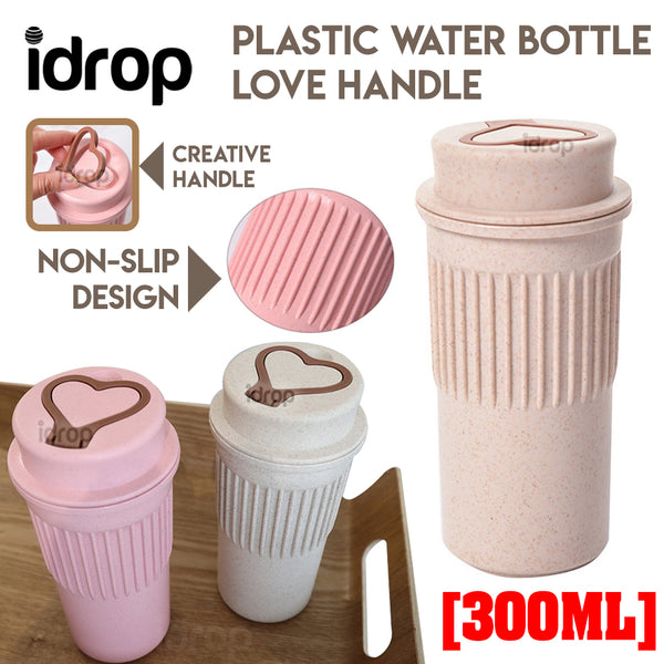 idrop 300ml Plastic Water Bottle Love Handle Folding