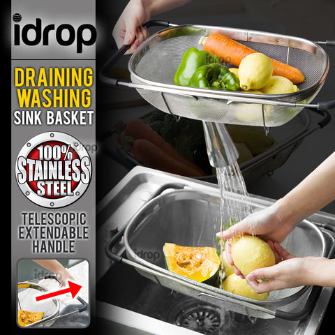 idrop Telescopic Stainless Steel Kitchen Colander Strainer Draining & Washing Basket
