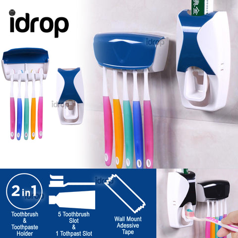 idrop [Set of 2] Toothbrush Holder Toothpaste Dispenser Squeezer