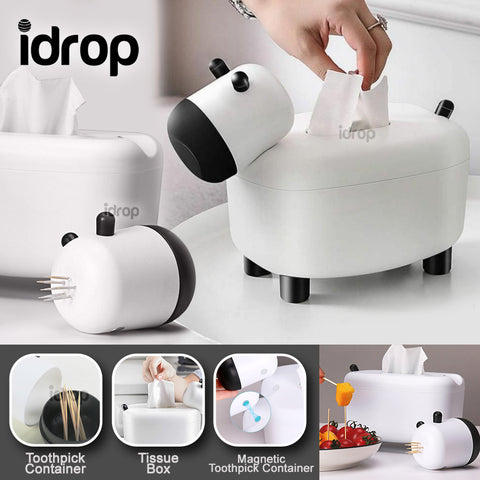 idrop 2 IN 1 Cute Cow Tissue Box Holder & Toothpick Container